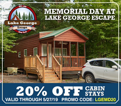 20% OFF Cabins at Lake George Escape - Promo Code: LGEMD20